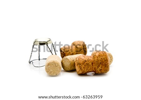 corks on a white background