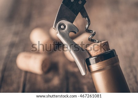 Corkscrew and bottle of wine on the board