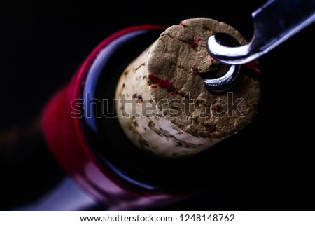 Corkscrew and bottle of wine. Opening of a wine bottle with corkscrew. Corkscrew and wine bottle on a dark background. #1248148762