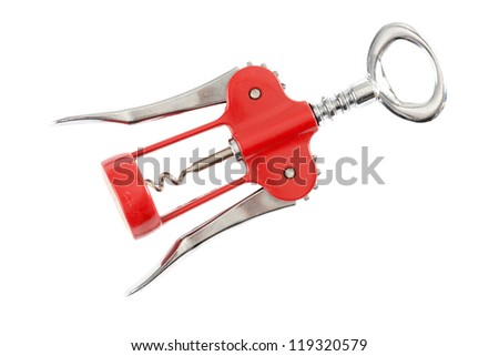 Corkscrew in front of white background