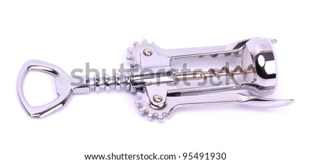 Corkscrew (wine opener) isolated on white