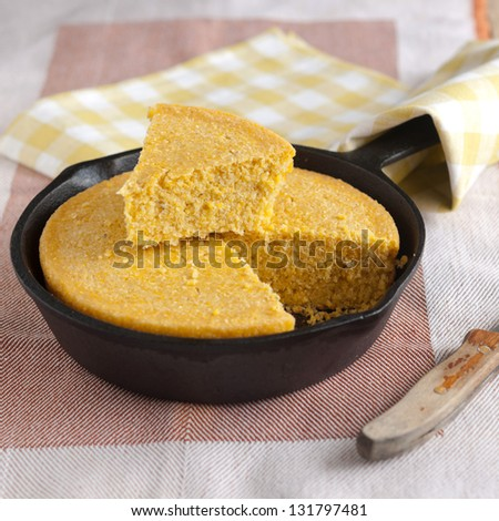 corn Bread in a cast iron skillet closeup