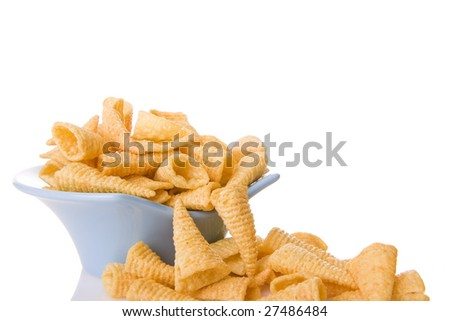 Corn chips in a blue bowl isolated on white