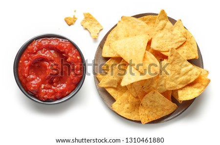 corn chips nachos and salsa sauce isolated on white background, top view Stock photo ©