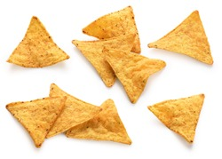 Corn chips, nachos isolated on white background. Collection.