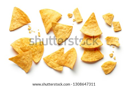 corn chips nachos isolated on white background, top view