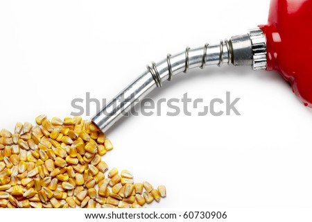 Corn comes out of nozzle from a gas pump, shot on white with soft shadows-space for copy