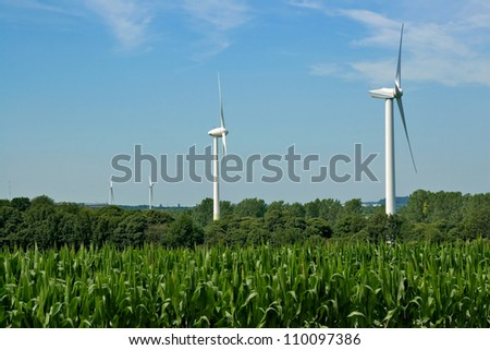 corn field and wind turbines generating electricity