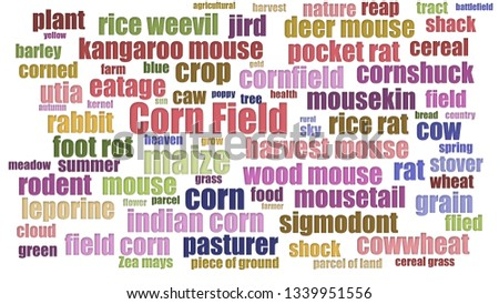 Corn Field Wordcloud Aligned On White Background