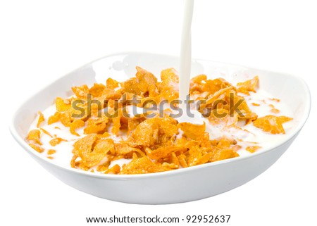 Corn flakes and milk for healthy breakfast