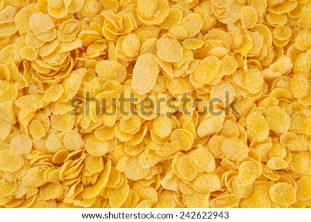 Corn-flakes background and texture, cornflake cereal box for morning breakfast. #242622943