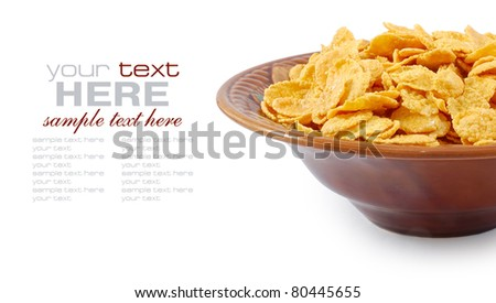 Corn flakes in dish isolated on white