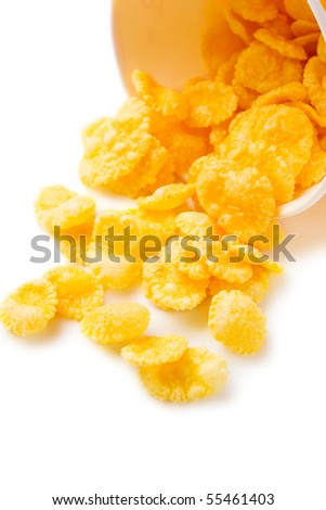 Corn flakes isolated on white
