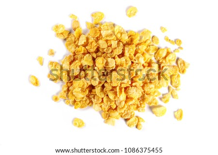 Corn flakes isolated on white background #1086375455