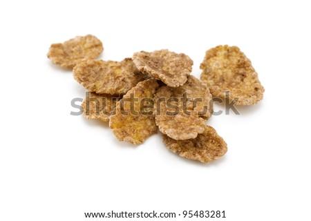 Corn flakes isolated on white background.