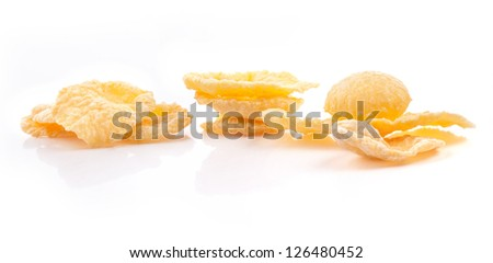 Corn Flakes, isolated on white background, closeup #126480452