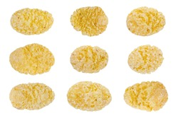 corn flakes isolated on white background, food ingredient, flake corn group for breakfast, corn flakes pattern