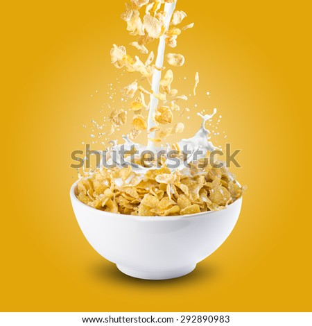 Corn Flakes With Milk Splash #292890983