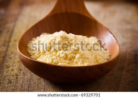 corn flour in a wooden spoon
