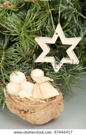 corn leaves babies and wood star Christmas ornament