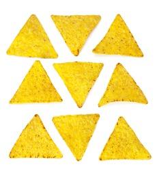 corn nachos on white background