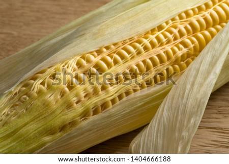 Corn on the cob and corn silk close up #1404666188