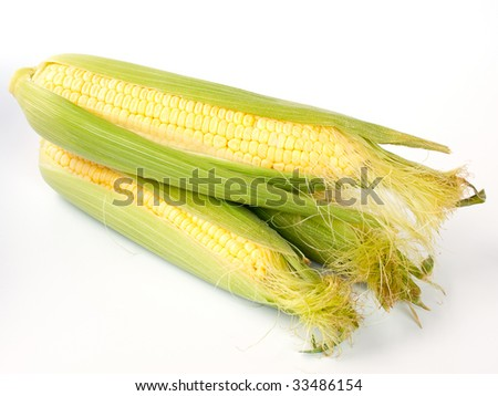Corn on the cob, isolated on white.