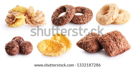 Corn pads, rings, balls, cornflakes and granola isolated on white background. Cereals breakfast collection with clipping path. #1332187286