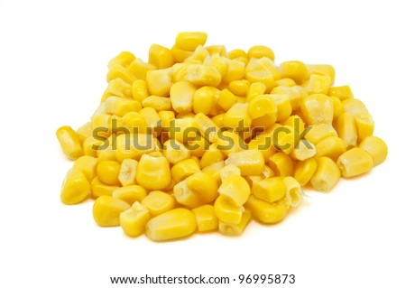 Corn pile on white background
