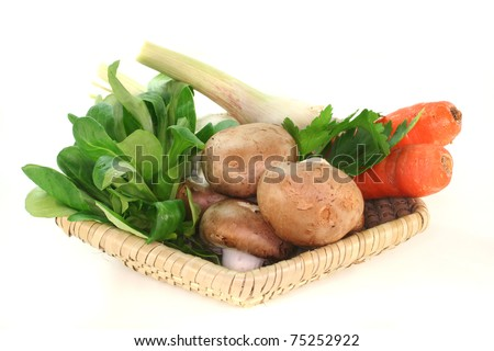 Corn salad, parsley root, mushrooms, carrots, parsley and garlic in the basket on a white background