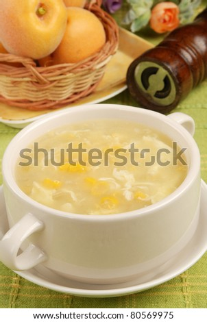 Corn Soup in a white bowl