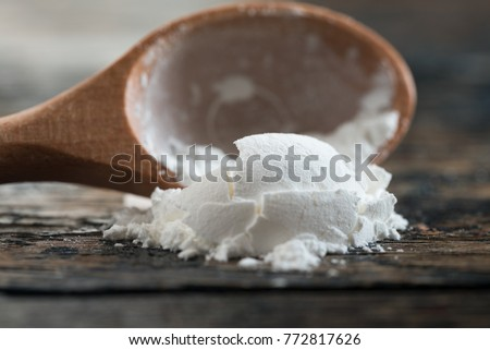 Corn Starch Spilled from a Teaspoon
