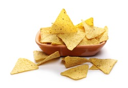 Corn tortilla chips pile in clay pot, bowl isolated on white background