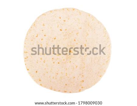 Photo of  Corn tortillas on white background. Unleavened bread