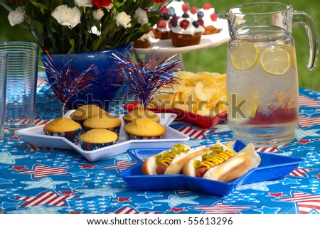 Cornbread and hot dogs on 4th of July in patriotic theme