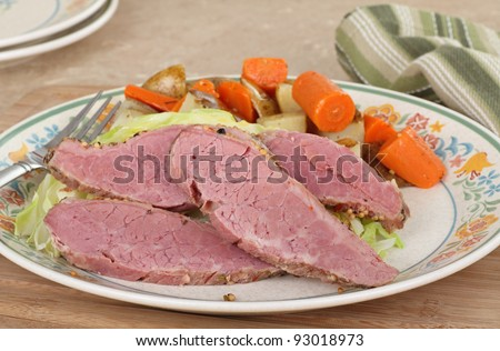 Corned beef dinner with cabbage and vegetables