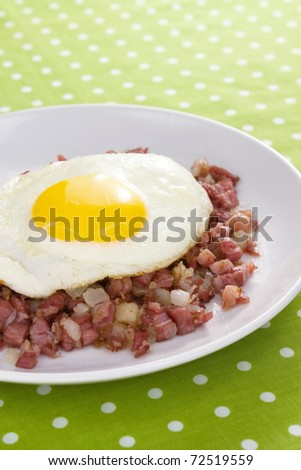 Corned beef fried with potatoes and onions, topped with a sunny side up fried egg. - stock photo