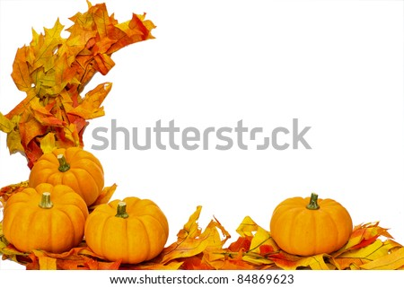 Corner border with fall leaves and four small pumpkins isolated on white