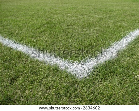 Corner boundary line of a playing field