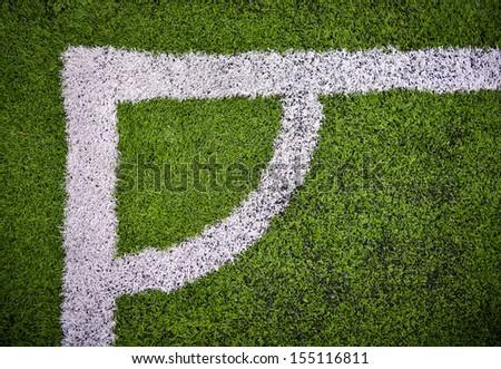 corner in the soccer field - stock photo