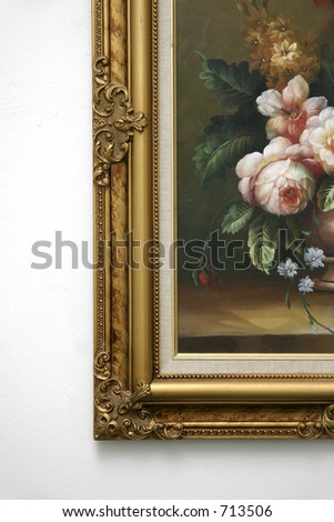 Corner of an art oil painting with elaborate gold frame - stock photo