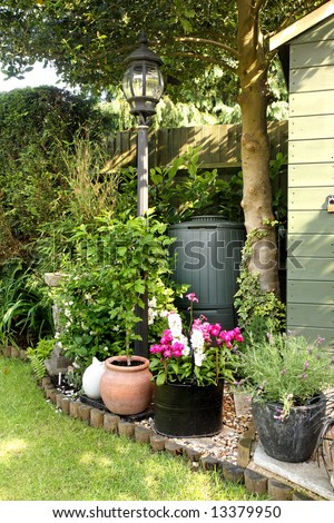 Corner of an English Back garden with planters, shrubs and Flowers and  a Composting bin