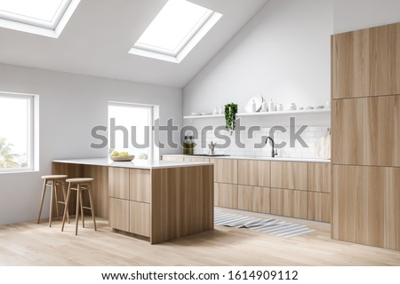 Corner of attic kitchen with white and brick walls, wooden floor, wooden countertops with built in sink and cooker, bar with stools and shelf with dishes and bottles. 3d rendering