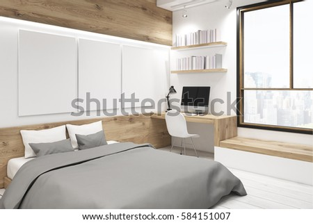 Corner of bedroom interior with a picture gallery. There is a wooden table, two bookshelves and three large vertical posters hanging on the wall. 3d rendering, mock up #584151007