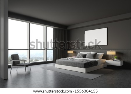 Corner of master bedroom with grey walls, concrete floor, comfortable king size bed with two bedside tables, gray armchair and horizontal mock up poster frame. 3d rendering