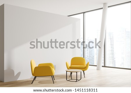 Corner of minimalistic office waiting room with white walls, wooden floor, panoramic windows and two yellow armchairs near round coffee table. 3d rendering