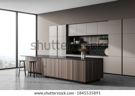 Corner of modern kitchen with light gray walls, concrete floor and wooden bar with stools. 3d rendering