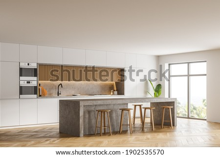 Corner of modern kitchen with white walls, wooden floor, bar counter and two ovens. Window with blurry view. 3d rendering