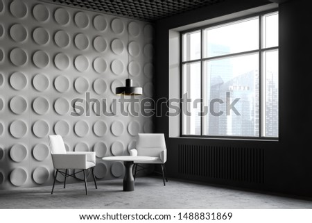 Corner of modern office lounge area with gray geometric pattern walls, concrete floor and comfortable white armchairs standing near round coffee table. 3d rendering