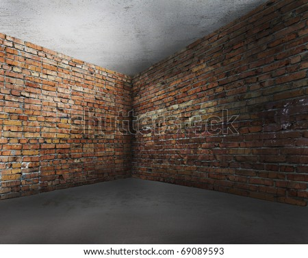 corner of old dirty interior with brick wall, empty room